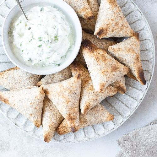 Curried pea and potato samosa