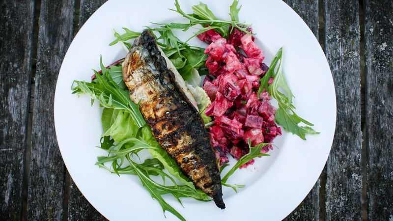 Grilled Mackerel with New Potatoes recipe