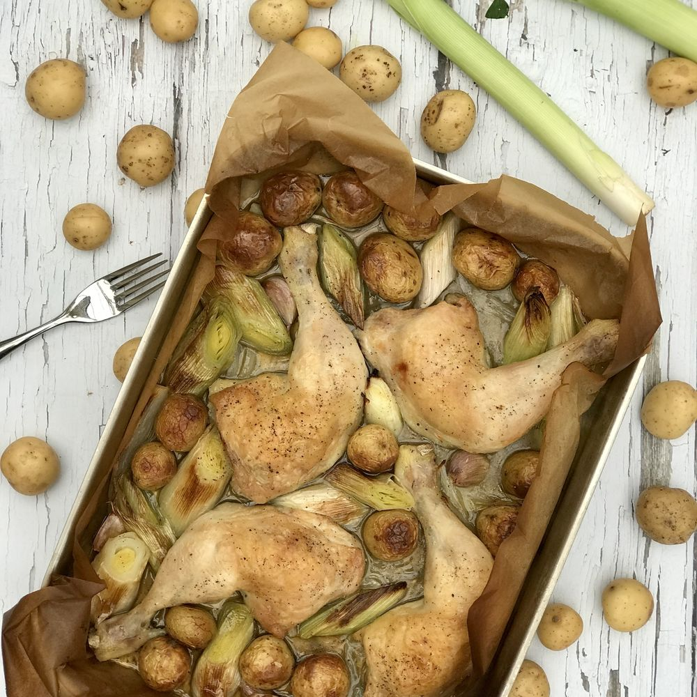 Chicken Leek and Potato Traybake